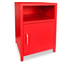 Table de chevet style industriel en métal rouge TOM