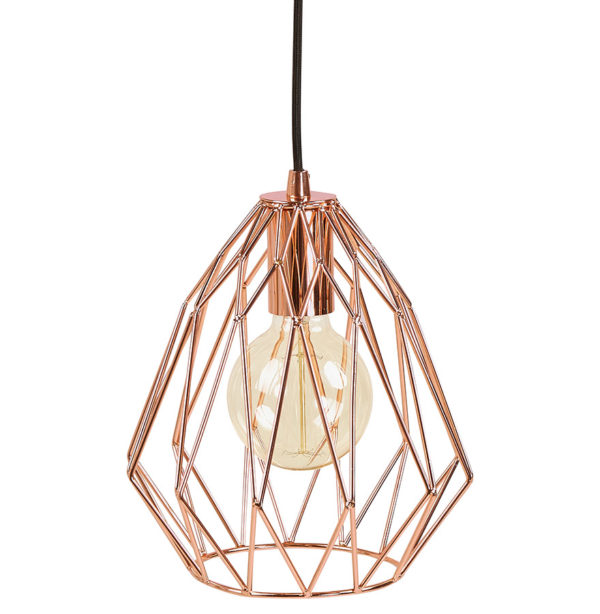 Lampe suspendue en métal or rose DIAMOND, suspension design or rose, suspension style industriel or rose, suspension décoration or rose, lampe decoration or rose, Homy France