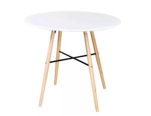 Table salle à manger ronde style scandinave blanc LEA