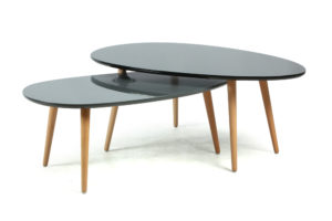 Lot de 2 tables gigognes noires brillantes DRIP DROP