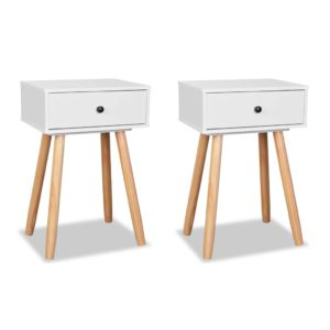 Lot de 2 tables de chevet en bois blanc CECILIA