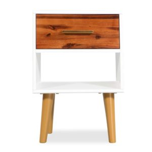 Table de chevet scandinave en bois blanc ASTA